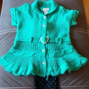 Girls 2 piece s/s sweater and pant set